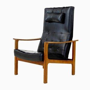 Butaca reclinable de teca y cuero, años 60