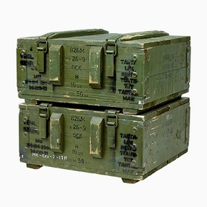 Pine Ammunition Boxes, 1950s, Set of 2