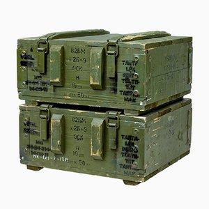 Scatole per munizioni in pino, anni '50, set di 2