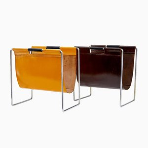 Scandinavian Leather Magazine Racks, 1950s, Set of 2