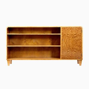 Mid-Century Scandinavian Burr Elm Low Open Bookcase