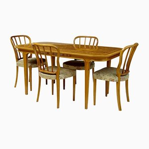 Swedish Beech & Walnut Dining Room Suite from Bodafors, 1970s