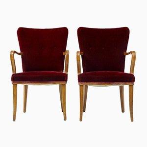 Poltrone in betulla e velluto rosso, anni '50, set di 2