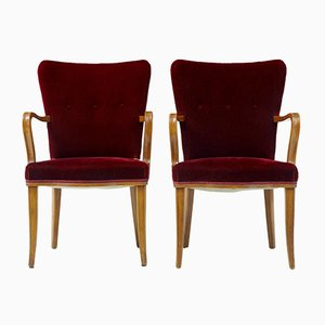 Red Velvet & Birch Armchairs, 1950s, Set of 2