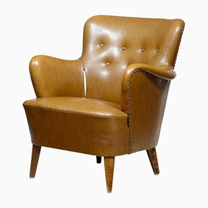 Club chair Mid-Century in pelle