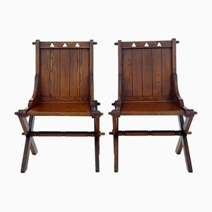 Vintage Pitch Pine Glastonbury Chairs, Set of 2
