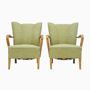 Scandinavian Modern Birch Armchairs, 1960s, Set of 2