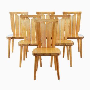 Skandinavische Vintage Esszimmerstühle aus Pinienholz, 6er Set