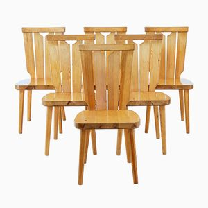 Vintage Scandinavian Pine Dining Chairs, Set of 6