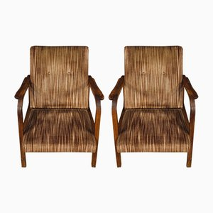 Vintage Italian Wood & Striped Fabric Armchairs, 1970s, Set of 2