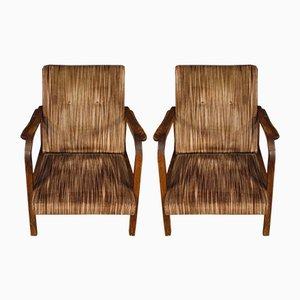 Vintage Italian Wood & Striped Fabric Armchairs, 1970s, Set of 2