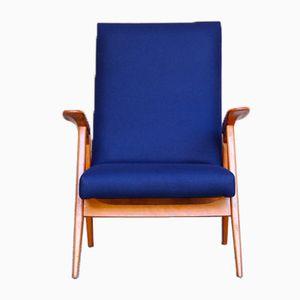 Vintage Armlehnstuhl mit hoher Rückenlehne aus Buche mit dunkelblauem Filzbezug