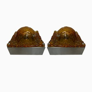Wandlampen aus Muranoglas von Mazzega, 1970er, 2er Set
