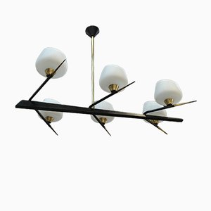 Metal & Opaline Glass Chandelier from Lunel, 1960s