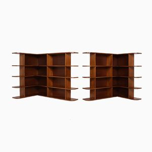 Modernist Corner Bookshelves, 1950s, Set of 2
