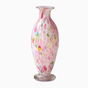 Antike französische Clichy Kunstglasvase aus Kristallglas in Rosa