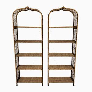 Vintage Wicker Shelves, Set of 2