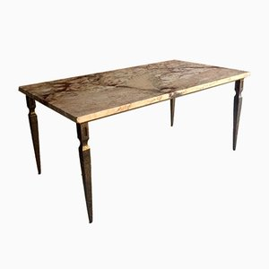 Mid-Century French Marble Coffee Table with Iron Base, 1940s