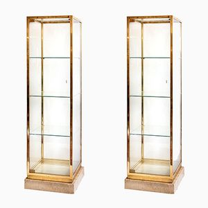 Mid-Century Italian Vitrines on Solid Limestone, Set of 2