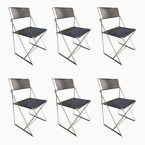 Vintage X-Line Chairs by Niels Jørgen Haugesen for Hybodan, 1970s, Set of 6