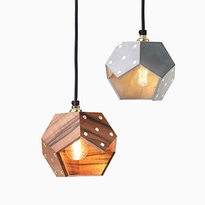 Basic TWELVE Duo Pendant Lamp in Concrete & Walnut from Plato Design