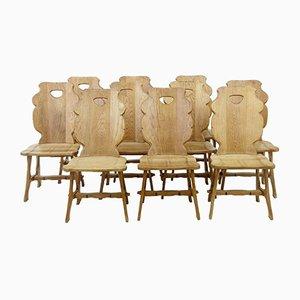 Swedish Oak Dining Chairs, 1920s, Set of 10