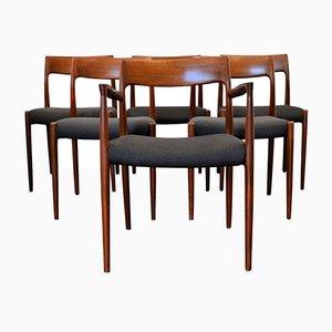 Vintage #77 & # 57 Esszimmerstühle aus Teak von Niels Otto Møller für J.L. Møllers, 1960er, 6er Set