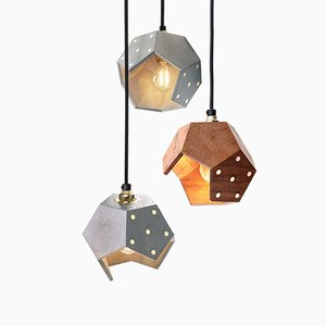 Basic TWELVE Trio Concrete & Walnut Pendant Lamp from Plato Design
