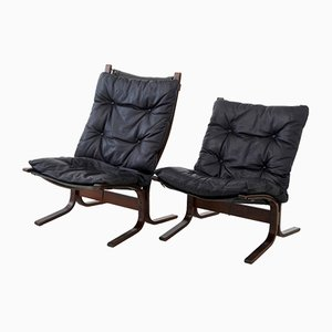 Mid-Century Norwegian Leather Lounge Chairs, 1950s, Set of 2