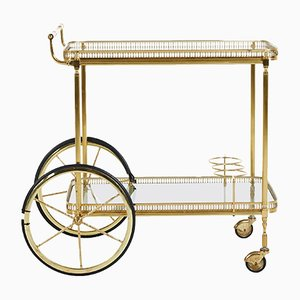 Danish Brass Bar Cart, 1960s