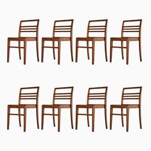 Esszimmerstühle aus Eiche von René Gabriel, 1950er, 8er Set