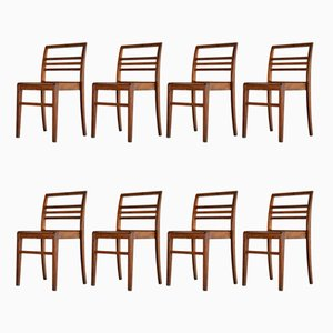 Oak Dining Chairs by René Gabriel, 1950s, Set of 8