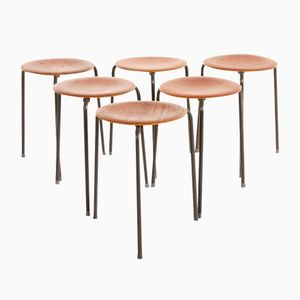 Swedish Modern Mahogany Architect's Stools, 1950s, Set of 6