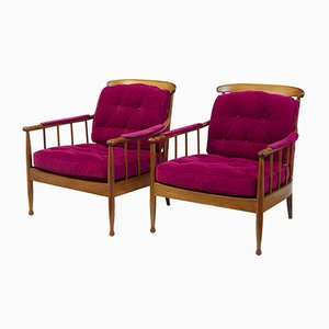 Swedish Walnut Lounge Chairs from OPE, 1960s, Set of 2