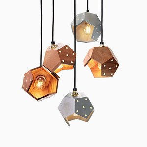 Basic TWELVE Quintet Concrete & Walnut Pendant Lamp from Plato Design