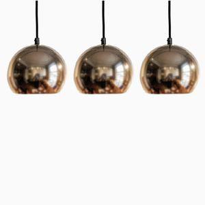 Gold verchromte Hängelampen, 1960er, 3er Set