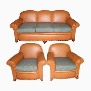 Tan Leather Sofa and 2 Armchairs, 1960s