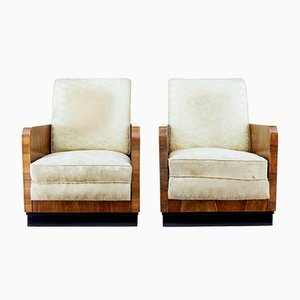 Italian Walnut Armchairs, 1950s, Set of 2