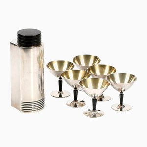 Swedish Silver Cocktail Shaker and Cocktail Cups by Folke Arstrom for GAB, 1930s