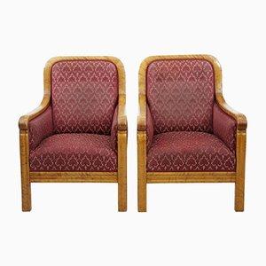 Art Deco Armlehnstühle aus Birke, 2er Set
