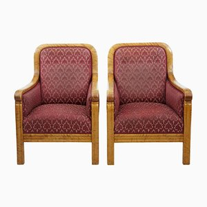 Art Deco Birch Lounge Chairs, Set of 2