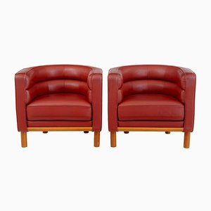 Large Leather Club Chairs, 1970s, Set of 2