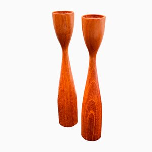 Danish Teak Candleholders, 1960s, Set of 2