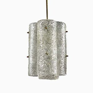 Large Textured Glass and Brass Chandelier by J.T. Kalmar for Kalmar, 1960s
