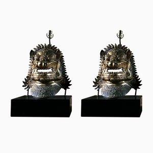 Drachenmasken Tischlampen aus vergoldetem Metall, 1960er, 2er Set