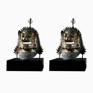 Gilt Metal Dragon Mask Table Lamps, 1960s, Set of 2