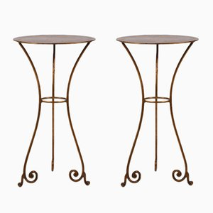Mid-Century Wrought Iron Side Tables, Set of 2