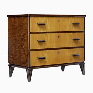 Mid-Century Swedish Art Deco Birch & Elm Chest of Drawers