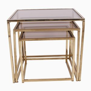 Vintage Italian Gilt Metal Nesting Tables
