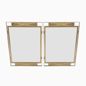 Vintage Italian Brass Mirrors, Set of 2